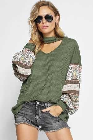 Thermal waffle knit top with boho print